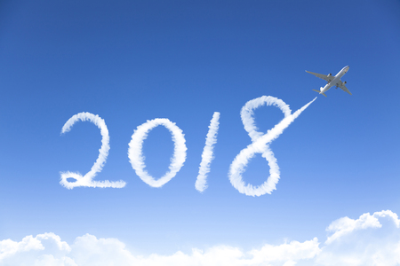 happy New year 2018 concept.drawing by airplane in sky  Stock Photo