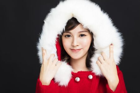 Happy young woman in winter clothes Stock Photo