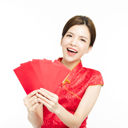 happy woman showing red envelope for chinese new year concept