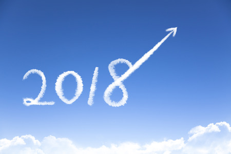 happy new year 2018 and business growth concept by cloud Stock fotó - 92428962