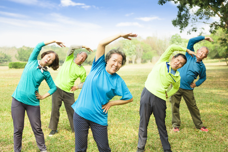 happy Senior Group Friends Exercise and   having fun