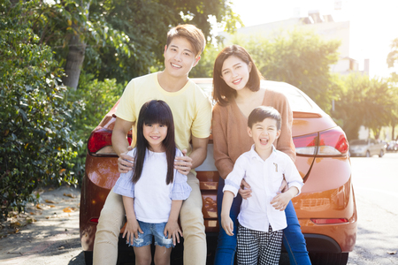 happy family enjoying road trip and summer vacation Stock fotó - 97367875