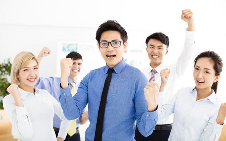 happy successful multiethnic business team 스톡 콘텐츠