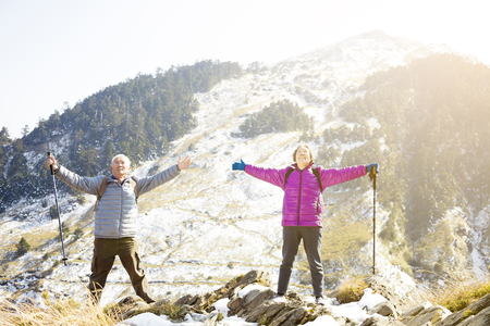 happy senior couple relaxed on the mountain Standard-Bild - 97758700