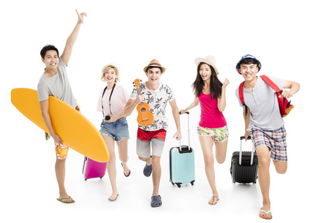happy young friends take summer vacation concept