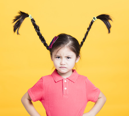 closeup angry little girl face Stock Photo