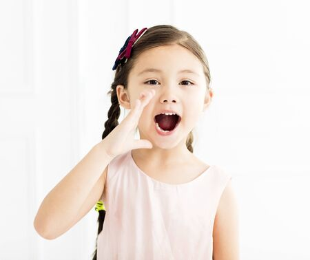 happy Little girl shouting