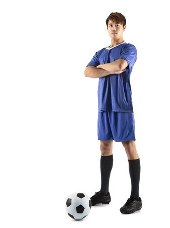 asian soccer football player young man standing