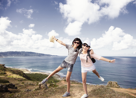 teenager girls having fun with summer vacation