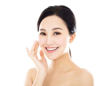 close up young smiling beauty face Stock Photo