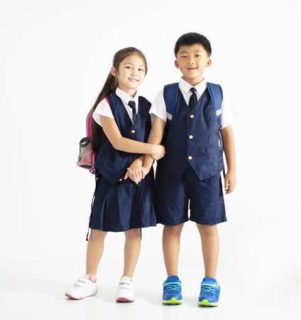 happy boy and girl student standing together