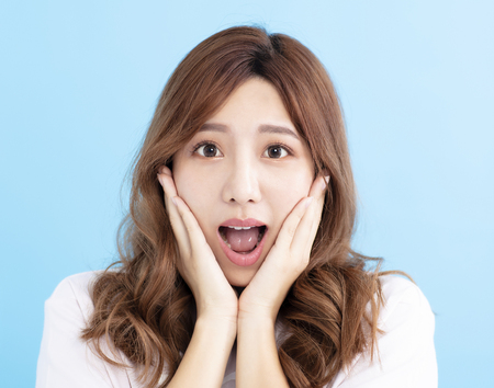 closeup Surprised young woman face