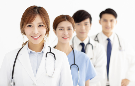 Portrait of asian medical team, doctors and nurses. 스톡 콘텐츠