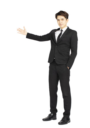 giovane uomo d'affari su sfondo bianco