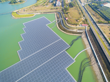aerial view of Floating solar panels or solar cell Platform on the lake