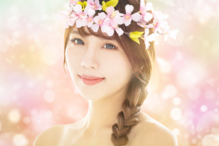 closeup young beauty face with spring background