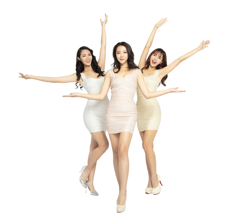 full length of beautiful young woman group