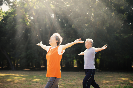 happy Senior Couple Exercising In the Park