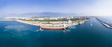 Vista aerea del porto di Hualien .Taiwan Archivio Fotografico