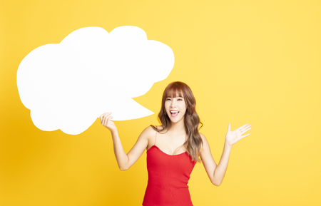 young woman with Speech Bubble Making an Announcement