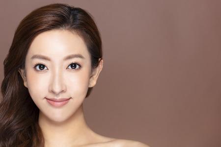 closeup young woman face with makeup and clean skin Stock fotó