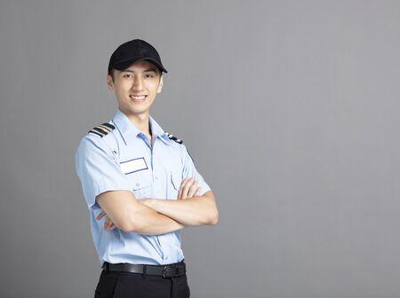 Retrato, de, asiático, guardia de seguridad