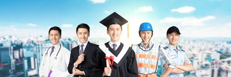Man dressed in different occupations and graduate uniforms