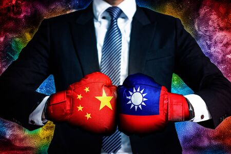 Political and business conflict Concept  between Taiwan and China