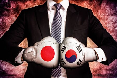 Politisches und geschäftliches Konzept des Handelskrieges zwischen Korea und Japan