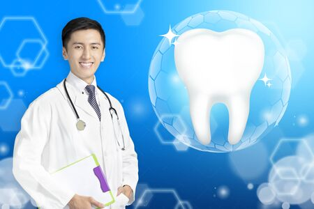 young dentist doctor showing Healthy tooth with glowing concept