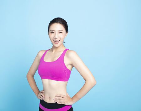 lachende jonge Fitness vrouw portret Stockfoto
