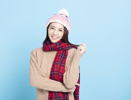 Young Beautiful Woman in winter clothes