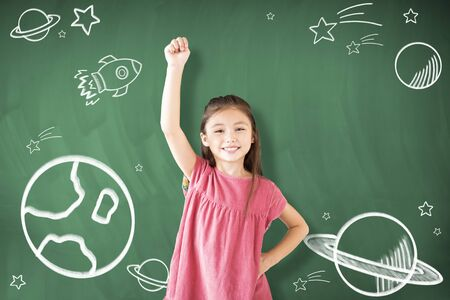 happy little girl Dreaming to explore space concepts Stock Photo