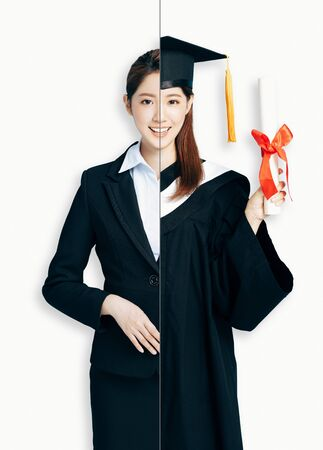 asian Woman in two occupations of businesswoman and graduation