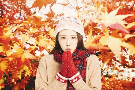 asian Young woman with autumn leaves background 写真素材