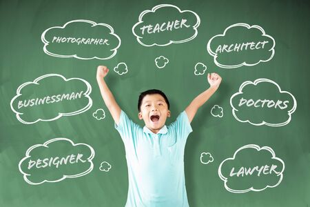 happy little boy student with job choose concepts