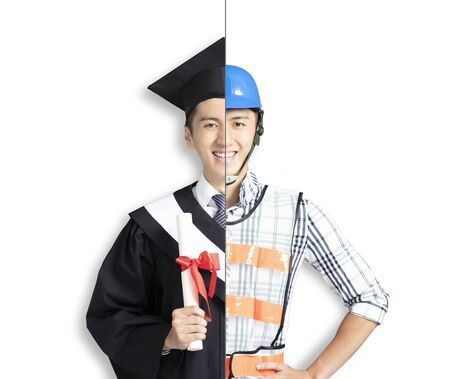 asian young man in two occupations of engineer and graduation