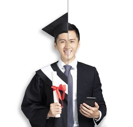 asian young man in two occupations of businessman and graduation 写真素材