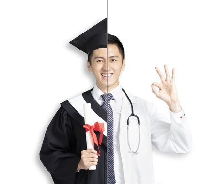 asian young man in two occupations of doctor and graduation