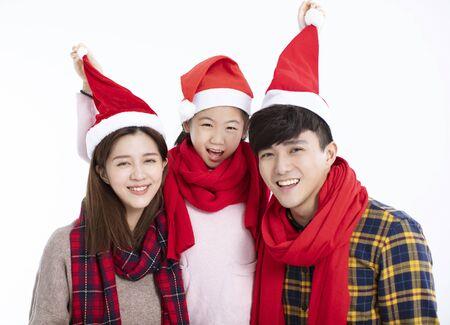 happy family having fun and celebrating  christmas