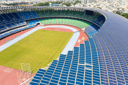Kaohsiung, Taiwan - Sept 11, 2019 : View of Kaohsiung National Stadium (World Games Stadium). solar panel on the roof