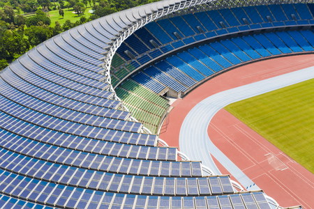 aerial view solar panel on the roof of Stadium 報道画像