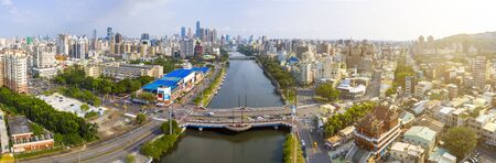 aerial view of kaohsiung city and love river. taiwan.