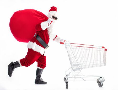Happy Santa Claus with Christmas shopping cart Archivio Fotografico - 133673230
