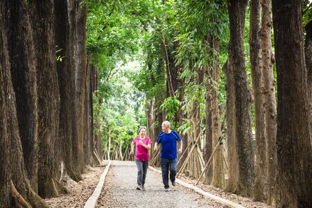 happy asian senior couple jogging together at morning