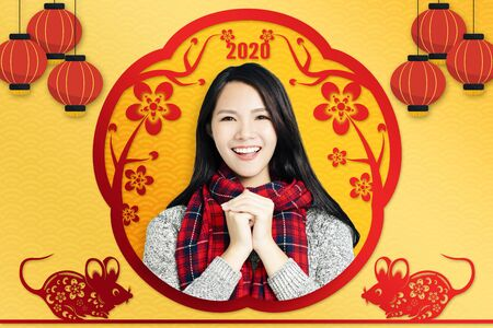 asian young woman celebrating for chinese new year.