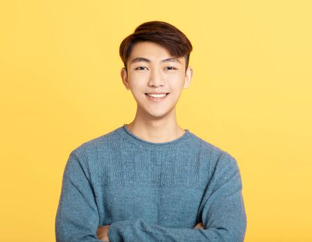 Portrait of charming asian young man