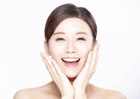 closeup young beauty with clean fresh skin 版權商用圖片