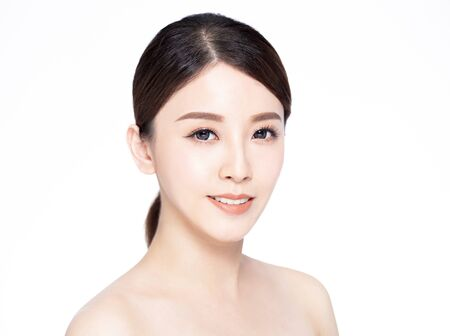 closeup young beauty face with clean fresh skin