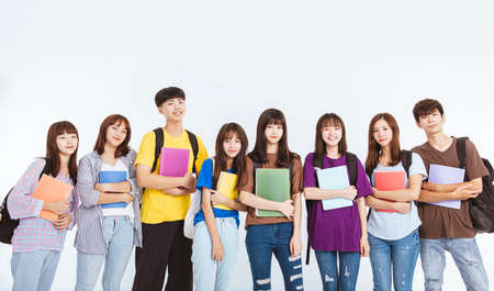 happy teenager student group standing together